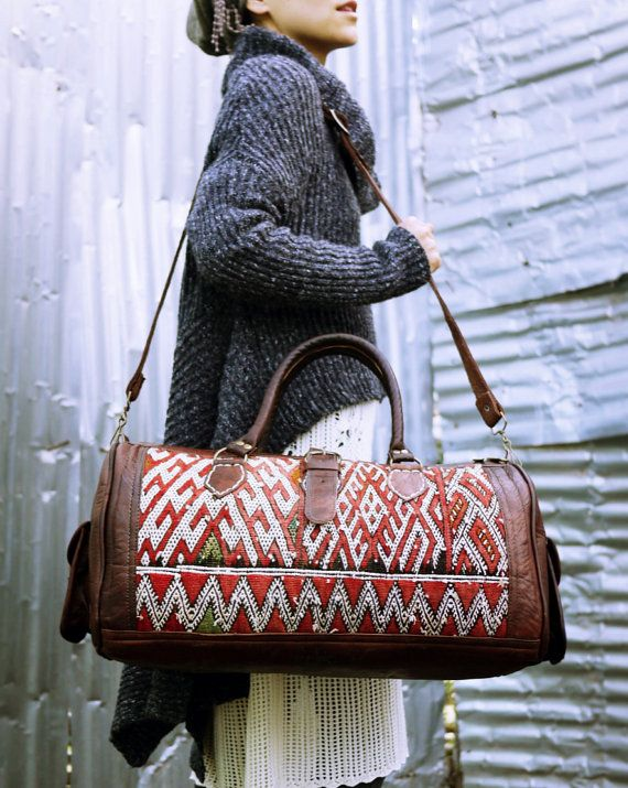 FREE SHIPPING, Weekender bag, Large leather bag, Boho bag, Moroccan Leather, Gypsy, Hippy, Kilim, Weekender bag, Overnight bag, Duffle bag