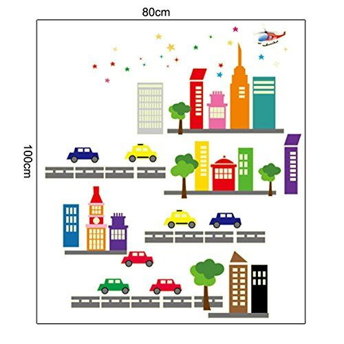 VVitoria Removeable Adhesive Mural Wall Room Sticker Decal Child Kid Room Nursery Decoration Cartoon City Bus Building *** You can find more details by visiting the image link.