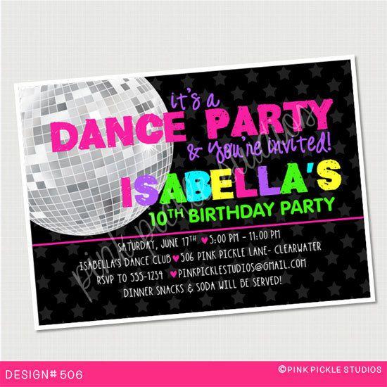 dance invitation dance party dance birthday dance invitations