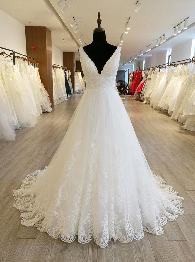 White A-line Wedding ceremony Attire,V-neck Basic Bridal Gown,11556