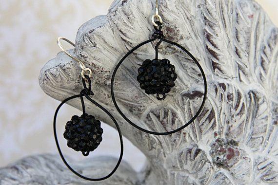 Black Hoop Earrings with Acrylic Bead, Black Sparkly Bead Hoop Earrings, Black Wire Hoop Earrings