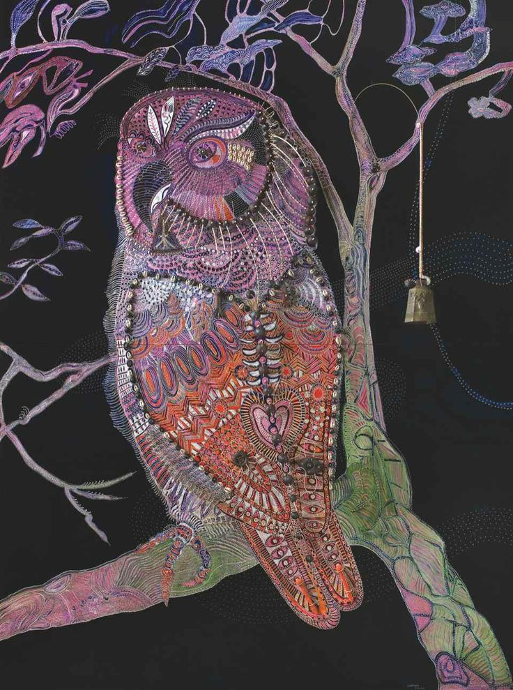 Midnight Owl - Mud Island, oil, shells and wood on carved board with bronze bell, 204 x 152 cm