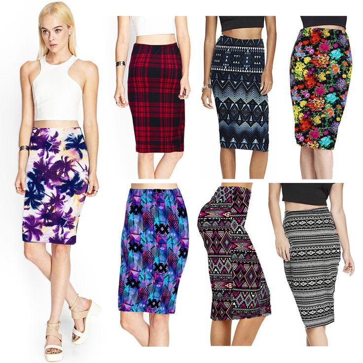 2015 Summer Vintage Fashion Pencil Skirt Women Knee-Length Elastic High Waist Printing Saias Femininas 9 Colors DY5