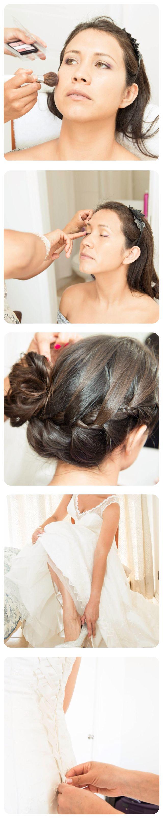 Preparación de la Novia. Peinado. Maquillaje. Bride makeup and hair