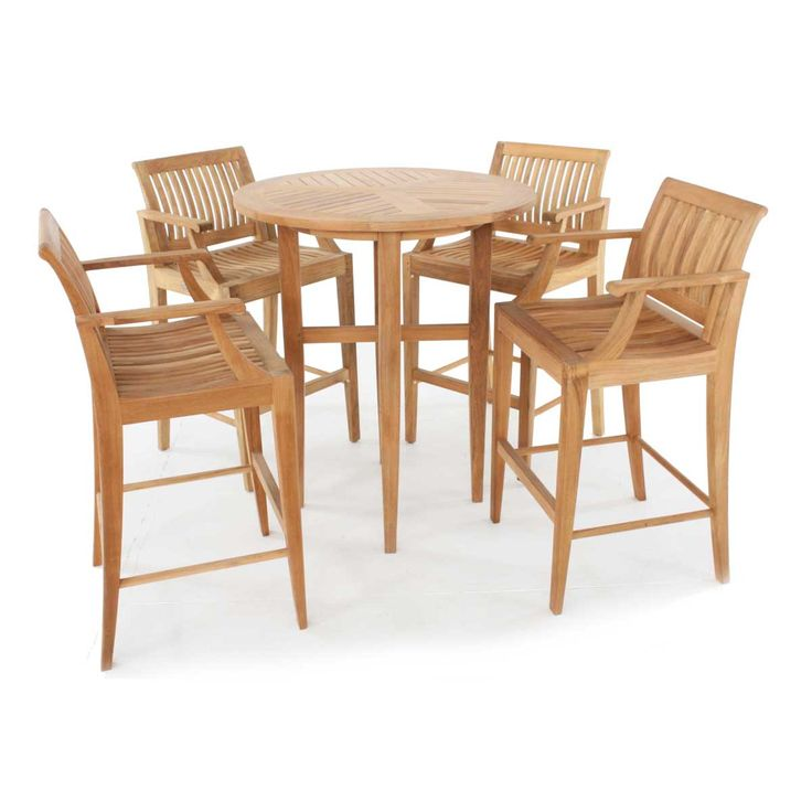 """In this bar set, the contoured backrest, scooped seats, gently curved arms, and well-placed footrest of the bar stools ensures extended times of comfort for outdoor dining, while the bar table promotes intimate dining and conversation. The Laguna Collection has been designed with generous proportions and attention to detail, easily allowing all pieces to blend well with both traditional and modern styles. The Laguna 5 piece Backless Bar Set features: 1 Laguna 36"""" Bar Table, 4 Laguna Bar…"""