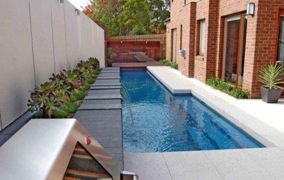 Narrow lap pool, great backyard space saver.