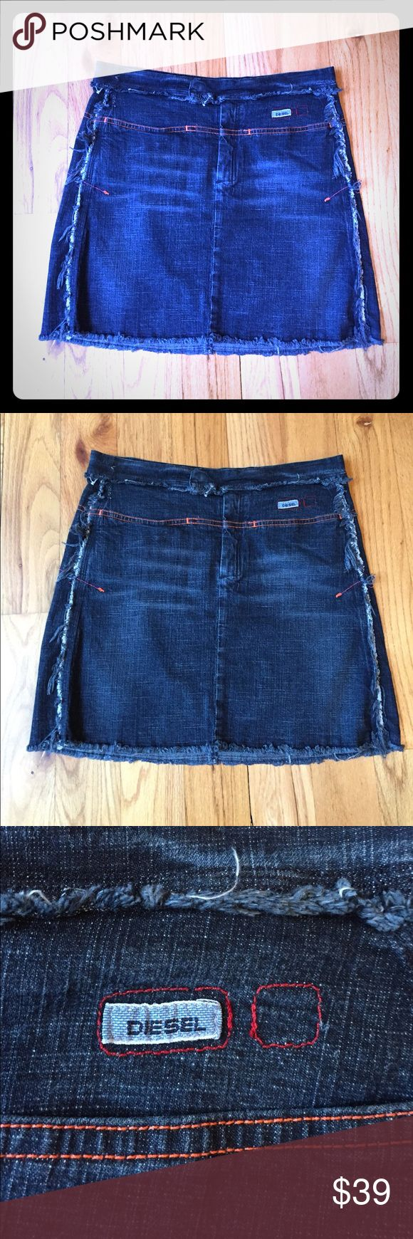 """Diesel distressed denim jean miniskirt size 29 Worn once. Stretch denim. Made in Italy. Size 29, or 7/8. Waist 30.5"""" unstretched. Hips 38"""" unstretched. Length 15"""". Diesel Skirts Mini"""