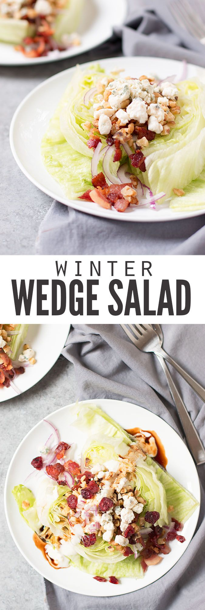A perfect wedge salad for cooler temperatures. Topped with bacon, blue cheese and an incredible maple glaze - the perfect escape from stews and casseroles! :: DontWastetheCrumbs.com