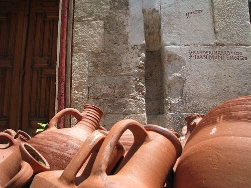 Amphorae  -  Amphoras in front of the chapel in the Castle of St. Peter (Bodrum, Turkey).