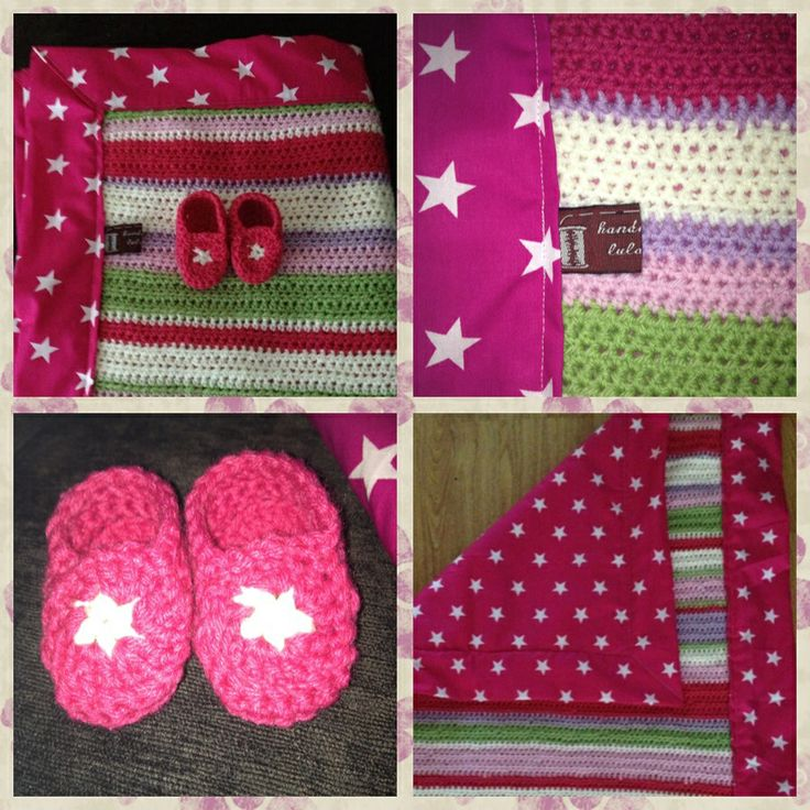 Starry pink pram blanket with matching star bootees