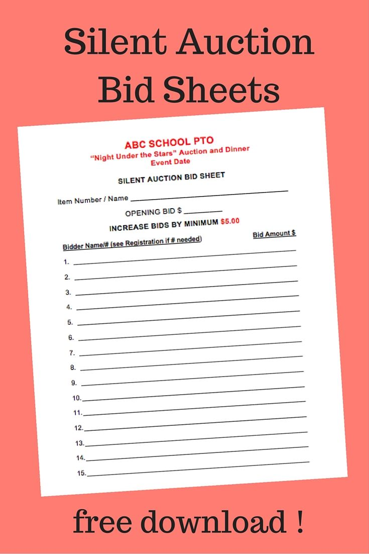 It is a picture of Slobbery Free Printable Silent Auction Templates