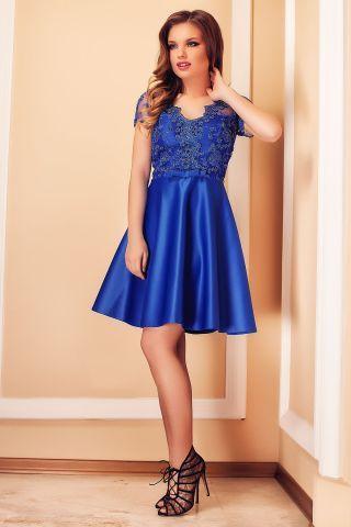 Rochie albastra de seara scurta in clos cu dantela