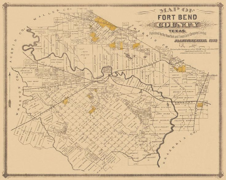 Old County Maps Fort Bend County Texas TX Landowner Map 1882   eBay