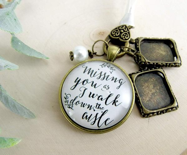 Bouquet Wedding Charm 2 Frames Missing You As I Walk Down Aisle Memorial White Bridal Pendant Remembrance Photo Jewelry