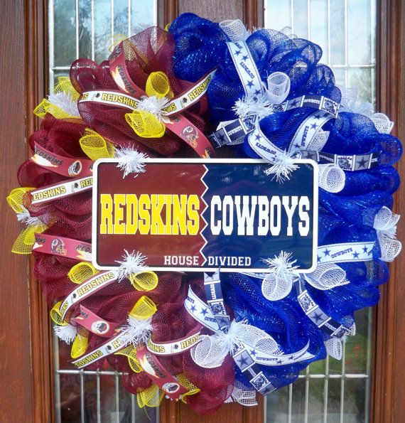 Redskins Cowboys House Divided Wreath By Jenniferzwreaths
