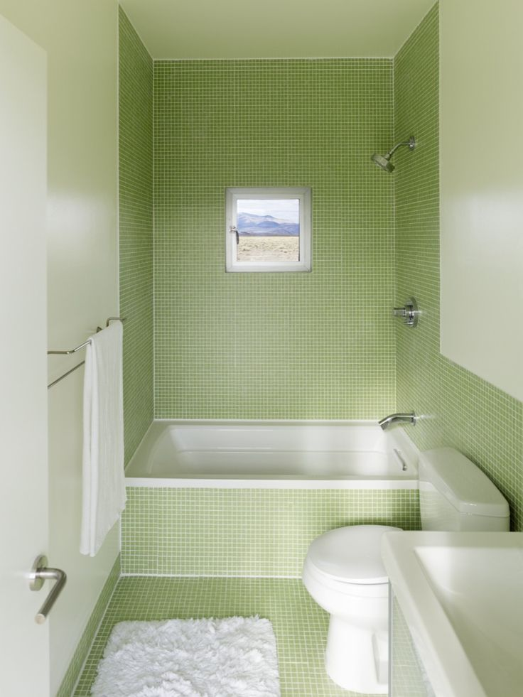 Bathroom, Cool Small Bathroom Designs that You Would Linger in it: Simple Minimalist Natural Soft Green Small Bathroom Remodeling Ideas With...