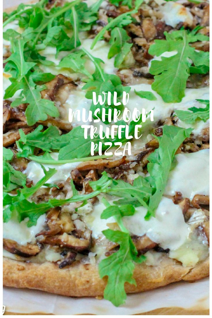 This Wild Mushroom Truffle Pizza starts with a truffle sauce from Williams Sonoma topped with creamy fontina and mozzarella cheeses. The truffle oil drizzle at the end is the perfect finish to this gourmet pizza. https://metirementblog.com/wild-mushroom-truffle-pizza/ #metirementblog#pizza#truffles#williamssonoma#cheese