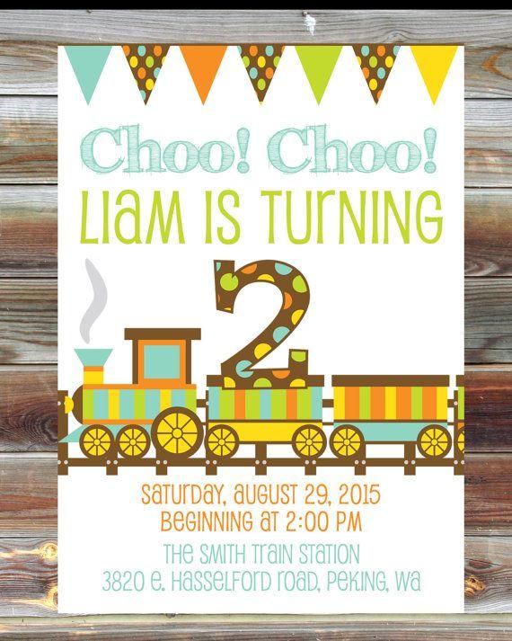 Train Theme Birthday Invitation 2nd Boy Toddler