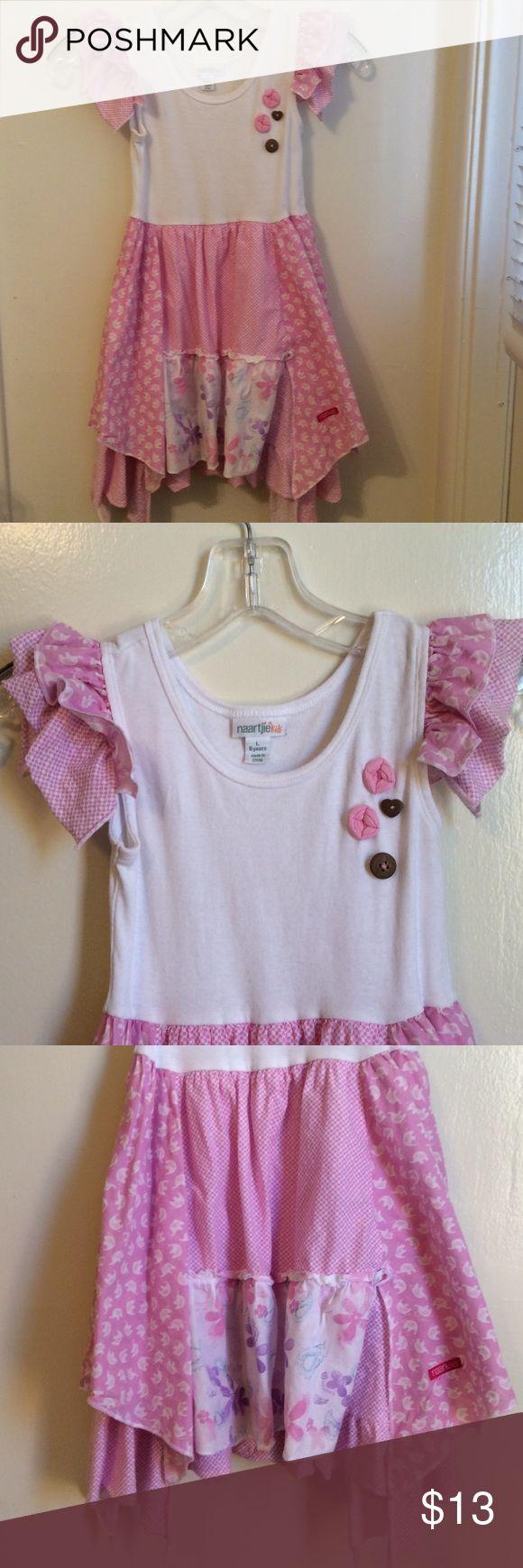 Naartije Kids Pink Dress Sz L 6 Elephants White Great used little girl dress in a size 6. No rips or stains lite wash wear. We loved it!! Smoke free home! naartije kids Dresses Casual