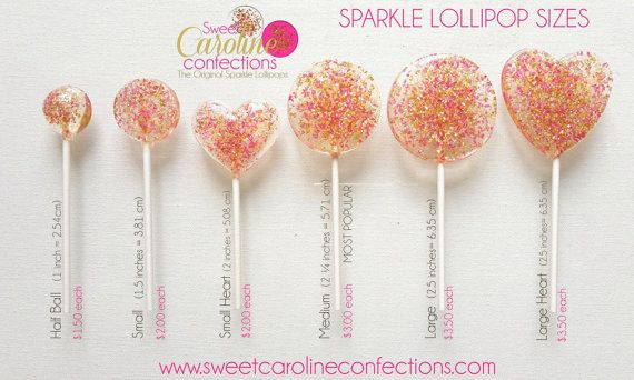 ♥ Sweet Caroline Confections offers The Original Sparkle Lollipops ♥  ☆ This listing is for 25 hard candy lollipops. 5 sizes available!  ☆ This exclusive hard candy lollipop pack includes a variety of soft gold, deep and light coral and pink sparkle lollipops that will wow you guests. They exude a soft elegance and sophistication. Designs may include solid coral candy, translucent candy with sparkly gold glitter, hot pink sugar crystals, soft pink and gold sugar crystals, and many more…