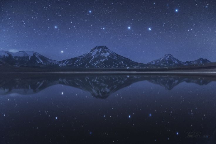 Big Dipper Above and Below Chilean Volcanoes -- Sky and Reflection Image by Yuri Beletsky (Carnegie Las Campanas Observatory, TWAN)