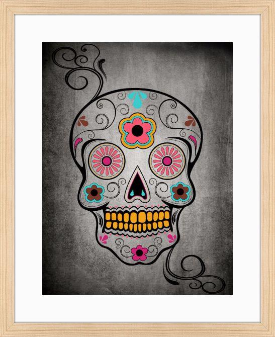 Quadro Colored Skull por On The Wall | Crie seu quadro com essa imagem | #quadro #moldura #caveira #skull #decoração