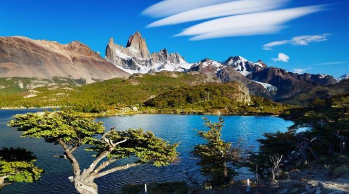 Smukke Patagonien i Argentina med Los Glaciares Nationalpark på en klar dag med Mount Fitz Roy i baggrunden
