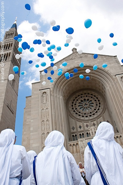 Release of balloons at the Basilica of the National Shrine of the Immaculate Conception in Washington, DC, in honor of Mother Teresa's 100th birthday.