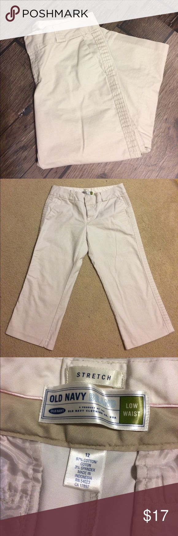 Old Navy Brand Stretch Light Khaki Capris Gently worn. Size 12 Old Navy Brand Stretch Light Khaki Capris. 97% cotton, 3% spandex. 22 inch inseam. No rips, stains or tears. Non-smoking home. Old Navy Pants Capris