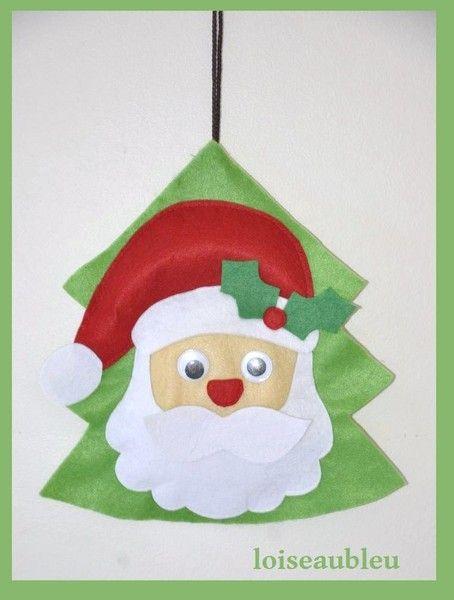 corona di Natale pallina di Natale Babbo Natale di Natale Decorazione per l'albero di Natale per i bambini.  Pallina tradizionale di Natale a forma di albero con Babbo Natale di feltro è il perfetto regalo di Natale per i vostri cari! Pendant è una decorazione perfetta di Natale da appendere l'albero di Natale, muro o una finestra nella stanza dei bambini.  Loiseaubleu su DaWanda.com