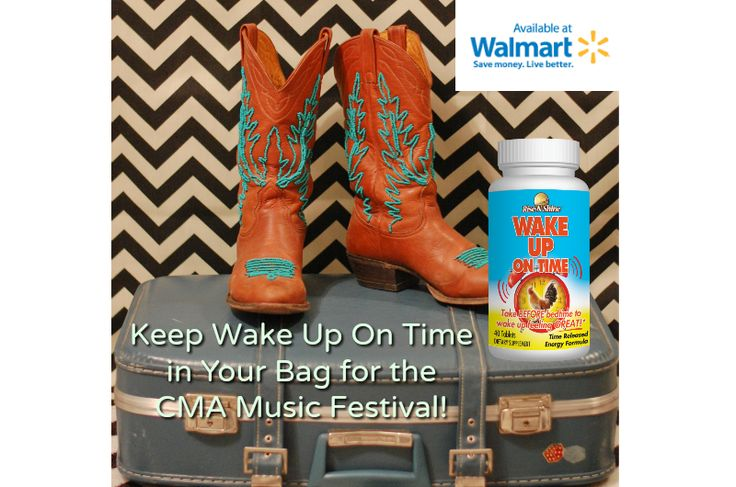 Don't miss a minute of the CMA Music Festival! Keep Wake Up On Time in your bag! Now available at Walmart! Image by Stacie. #music #cmafest #cmamusicfest #countrymusic #nashville #tennessee #wakeupontime #stayupallday #nutritionalsupplements #vitamins #energy #walmart #madeintheusa #madeinamerica #allnatural #cowboyboots #cowboys #cowgirls