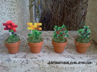 Amazing Minecraft potted plats decor from Just Another Level on Etsy