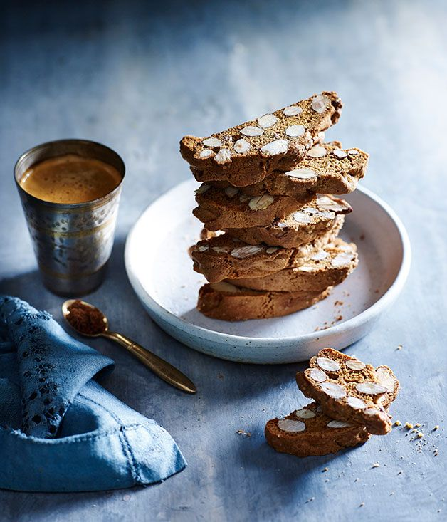 Muscovado biscotti - suggested serving with chocolate panna cotta. Gourmet Traveller.