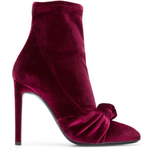 Giuseppe Zanotti Design Josephine velvet booties ($795) ❤ liked on Polyvore featuring shoes, boots, ankle booties, red, heels stilettos, stiletto booties, stretch booties, giuseppe zanotti booties and flat boots #redstilettoheels #giuseppezanottiheelsred