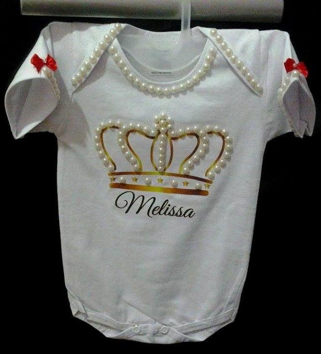 body customizados com pérolas <br>com nome do seu bebe