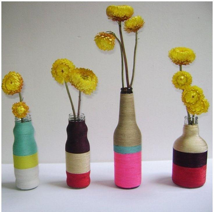 Botellas decoradas con hilo f cil y econ mico manualidades red facilisimo pinterest - Botellas decoradas manualidades ...
