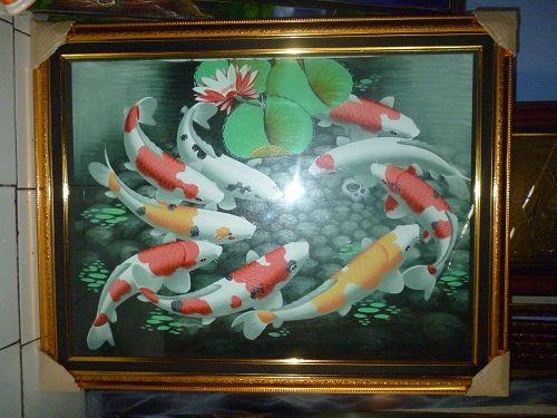Nama Lukisan kanvas ikan  Kode : Kk 09  Bahan : cat air dan kanvas  Frame : Fiber  Ukuran : 90 x 70 cm  Harga : Rp. 550.000,-  http://kioskaligrafi.com/lukisan-kanvas-ikan/