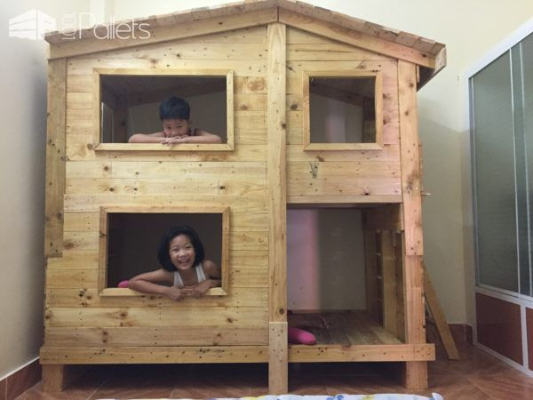 "#Bedroom, #PalletCabin, #PalletPlayhouse, #RecyclingWoodPallets I consulted a lot of ideas on the Internet and then decide to make this Pallet Kids Bunk Beds with a built-in playhouse! This is my first time doing carpentry. I used two natural pallets, pallet stringers and 1x4"" boards. Additionally, I used 98 x"
