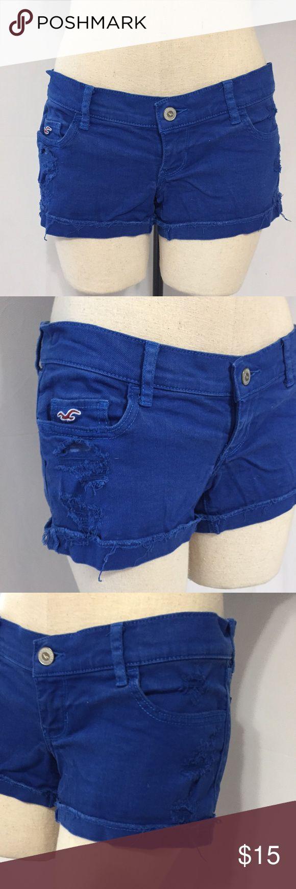 Hollister denim jean shorts sz 0 Cobalt Blue Guc, naturally distressed Hollister jeans, color is cobalt blue, size 0 w24. Hollister Shorts Jean Shorts