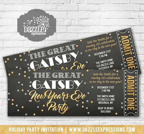 Printable The Great Gatsby Inspired New Years Eve Party Ticket Invitation   Gold and Silver Confetti   Roaring 20's Holiday Party   Ring in the New Year   Birthday or Any Event   Cocktails Party   Adult NYE Party   Mask Ball   Matching Party Decorations Available! Banner, Food Labels, Favor Tag, Drink Label, Signs, Straw Flags   www.dazzleexpress...