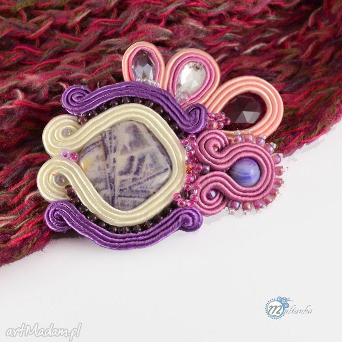 Różowo fioletowa broszka sutasz soutache gmlamour brooch swarovski fioletowy jaspis ametyst  #violet #brooch #sutasz #soutache #multanka #Swarovski #jasper