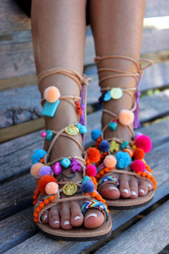 Handmade Sandals Tie Up Gladiator Sandals Pom by DimitrasWorkshop