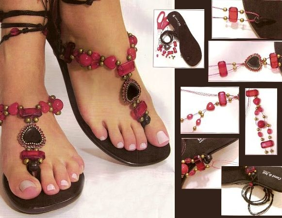 diy flip flop projects infinity sandals beads red brown www.diy-enthusiasts.com