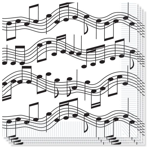 Musical Notes Theme Napkins Pack of 16. Size: 33cm x 33cm. Thickness: 2ply. Material: Paper. Great fun for Musical Notes, White and Black, Themed Parties