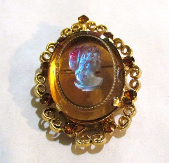 CELEBRITY Glass CAMEO Amber in gold tone by DeliciasCastle on Etsy