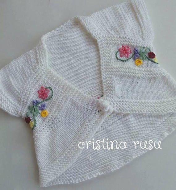 Handmade Knit  White Bolero  Babygirl  bolero with handmade