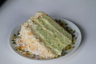 Vietnamese Soul Food: A Simple White Cake with Pandan leaves and Coconut Filling and Frosting-Banh Bong Lan Trang with Bo va La Dua.