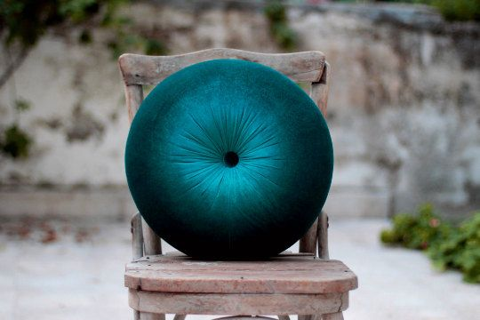 Petroleum green & Peacock green velvet round pillow 16 by FULYAK