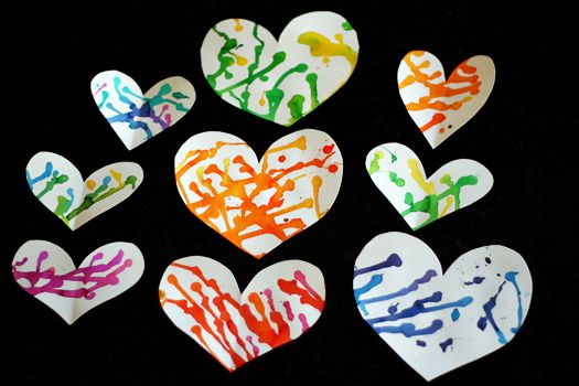 Colorful Puddle-Painted Hearts