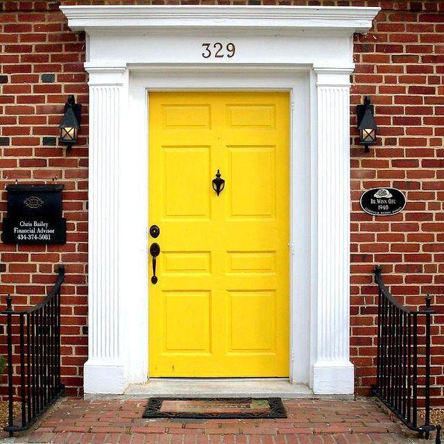 Yellow door, traditional door surround